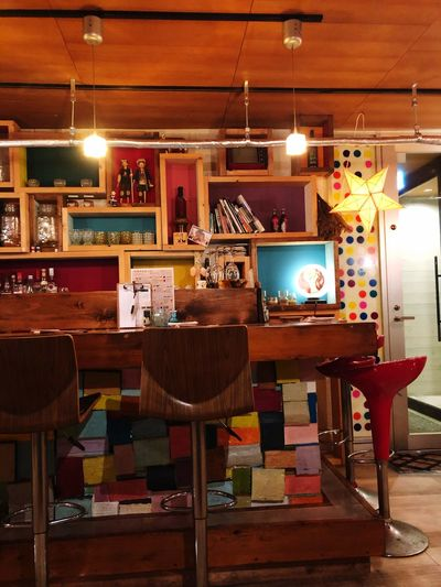 Illuminated Bar - Drink Establishment Table Seat Lighting Equipment Indoors  No People Chair Bar Counter Refreshment Food And Drink Restaurant Business Furniture Night Light - Natural Phenomenon Absence Stool Wood - Material Drink