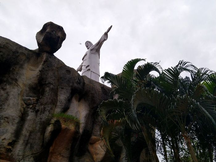 Fly Fly High Jesus Arms Redeemer Dragon Fly High Angle View Religion Christian Religious  Yanam French Territory Palm Man Made Stone Tree Statue City Sculpture Politics And Government Sky Cloud - Sky