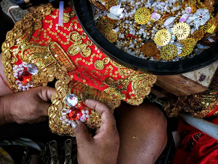 One Person Real People Low Section Human Body Part One Woman Only Only Women Multi Colored Close-up Art Is Everywhere Eyeem Philippines Embellishments Colorful Hand Sew Handsewn Hardwork Sinulog Beads Ornaments Dress The Photojournalist - 2017 EyeEm Awards The Street Photographer - 2017 EyeEm Awards BYOPaper!