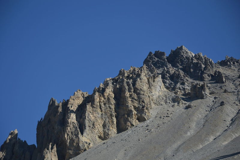 Low angle view of rock formation against clear blue sky