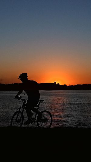 Silhouette person riding bicycle on shore against clear sky during sunset