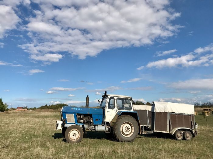 Tractor Old Fashion Historic GDR Sky And Clouds October Horse Trailer