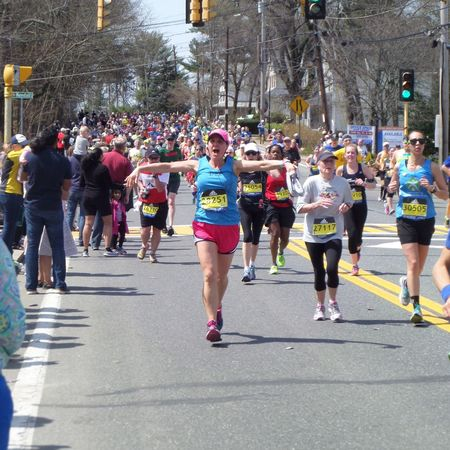 First Marathon, Greeting Friends, Boston Marathon, Mile 8, (12.8 km), 2016, Time - 4:42.22 First Marathon Boston Marathon Friends Joy Happiness Happy Runners Run Runner People Together