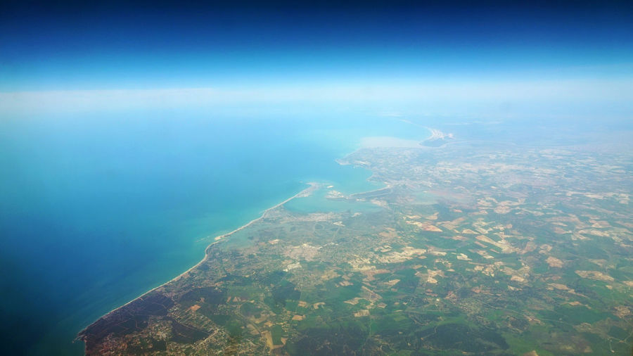 View of Atlantic Ocean and Western Africa from an airplane AirPlane ✈ Atlantic Ocean Aerial View Africa Airplane Beauty In Nature Blue Flying Land Landscape Scenics - Nature Sea Sky Western Africa
