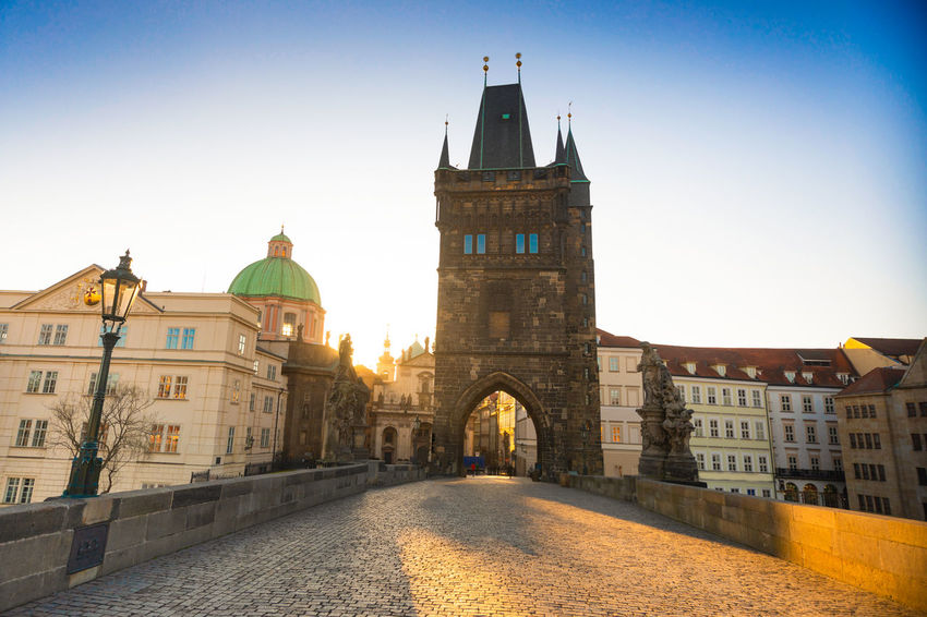 Czech Republic Prague Architecture Belief Building Building Exterior Built Structure City Clear Sky Clock Day Dome History Nature No People Outdoors Place Of Worship Religion Sky Spire  Spirituality The Past Tower Travel Destinations