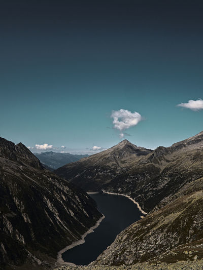 View over the zillertal alps to a reservoir in the zillergrund.