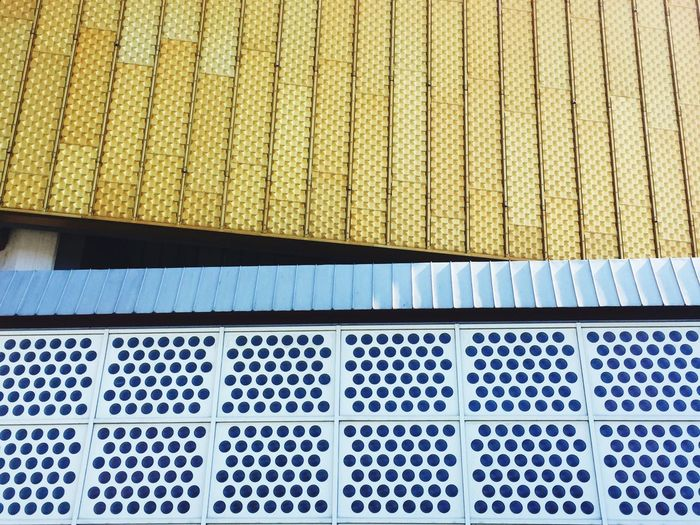 Full Frame Backgrounds Pattern Close-up Side By Side Detail Design Textured  Yellow Geometric Shape Streetphotography Architecture Architectural Detail Modern Geometric Abstraction Berlin Philharmonie Building Exterior TakeoverContrast Dots City