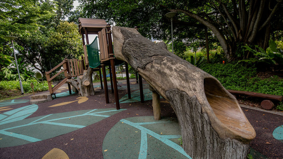 The Forest themed Playground in Rumah Tinggi Eco Park in July 2018. It blends really nicely with the surrounding trees 1 Forest Playground Public Park Themed Playground No People Outdoor Play Equipment Outdoors Public Places Public Playground