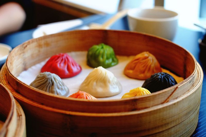 Close-up of colorful dumplings in bento box