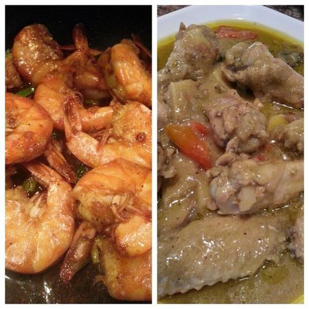 Garlic butter jumbo shrimp and thai chicken curry for Dinner Happybelly Homecooked