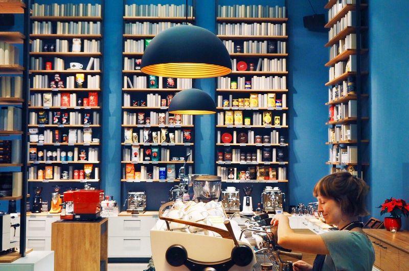 Espresso with Ocd // Berlin Germany Candid Olympus Coffee Kaffee Mirrorless Bar Cafe Winter Capture Berlin Bookshelf Library One Person