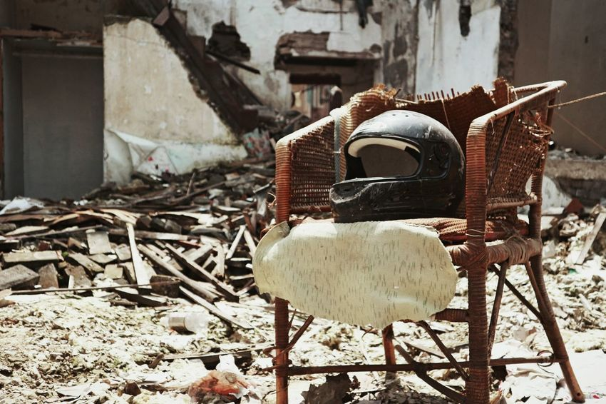 Streetphotography Chair Abandoned Places Abandoned Casque Resist