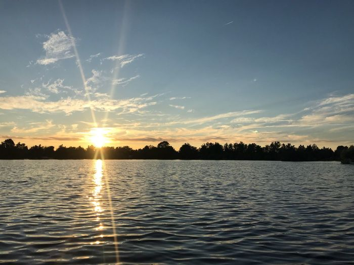 No Filter, No Edit, Just Photography Sky Water Scenics - Nature Tranquility Beauty In Nature Tranquil Scene Lake Sunset Tree Nature Cloud - Sky Reflection Waterfront Sunlight Non-urban Scene Rippled