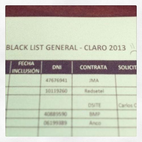 Ha llegado a mis manos la Listanegra de Claro ... Empresas teman Igersperu instagramperu job work
