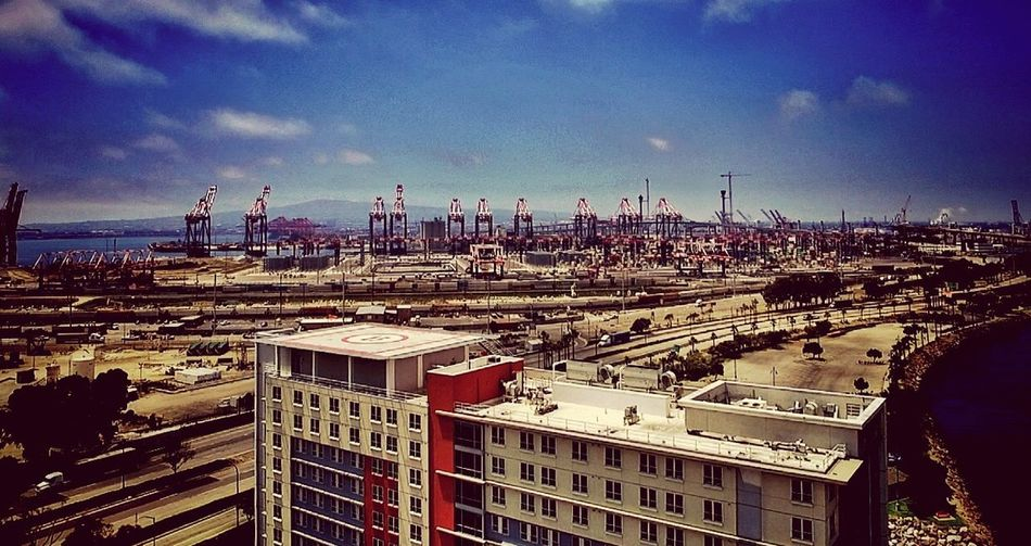 Sky Cityscape Architecture Cloud - Sky Built Structure Outdoors Harbor EyeEm Best Shots Hdr_Collection No People Crane Waterfront Streetphotography Drone  Dronephotography EyeEmBestPics