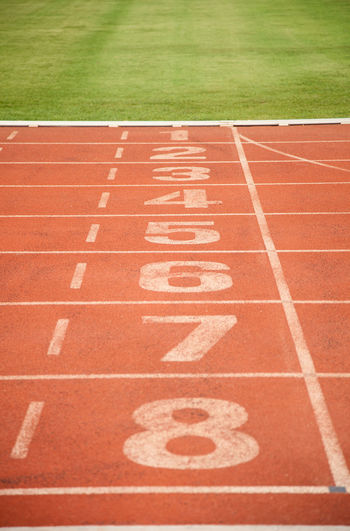 Numbers on empty running track