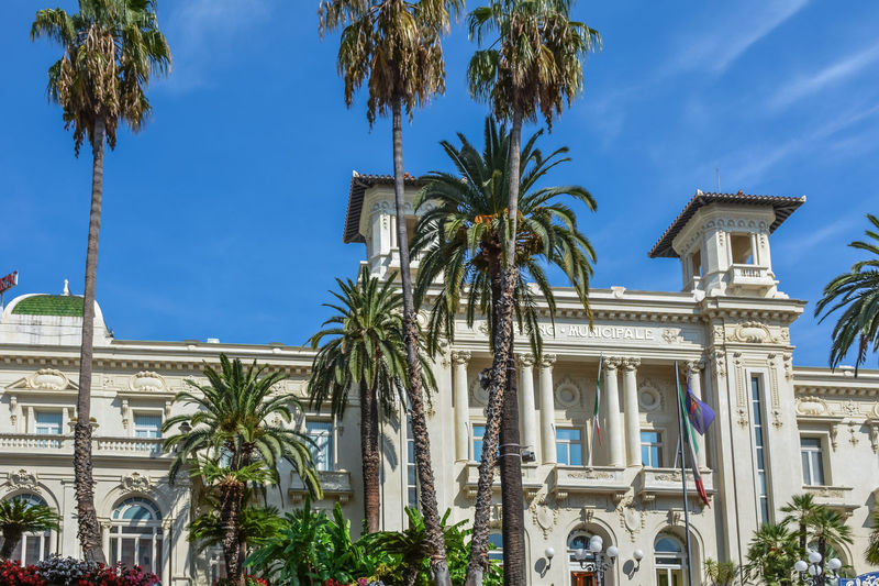 Architecture Casino Palm Tree Tree Architectural Column Architecture Art Arts Culture And Entertainment Blue Building Building Exterior Built Structure Day Italy Low Angle View No People Outdoors Palm Tree Sky Street Street Photography Streetphotography Travel Destinations Tree