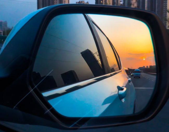 Car Side-view Mirror Transportation Reflection Mode Of Transport Window Mirror Sunset No People Outdoors Sky Close-up Nature City