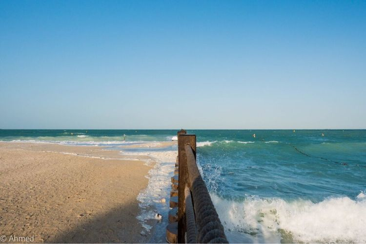 Sea Copy Space Horizon Over Water Clear Sky Water Beach Scenics Nature Beauty In Nature Tranquility Day Sky Outdoors No People Wave Wood Barrier