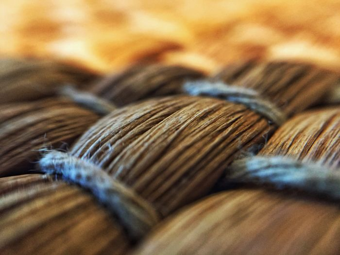 Close-up weaving of jute tablecloth