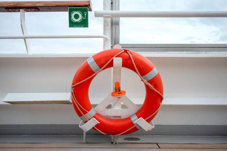 Lifebuoy on cruise ship Protection Safety Life Belt No People Red Security Day Transportation Sign Hanging Rescue Nature Rope Outdoors Orange Color Mode Of Transportation Communication Emergency Equipment Tubing Lifebuoy Lifering Cruise Ship