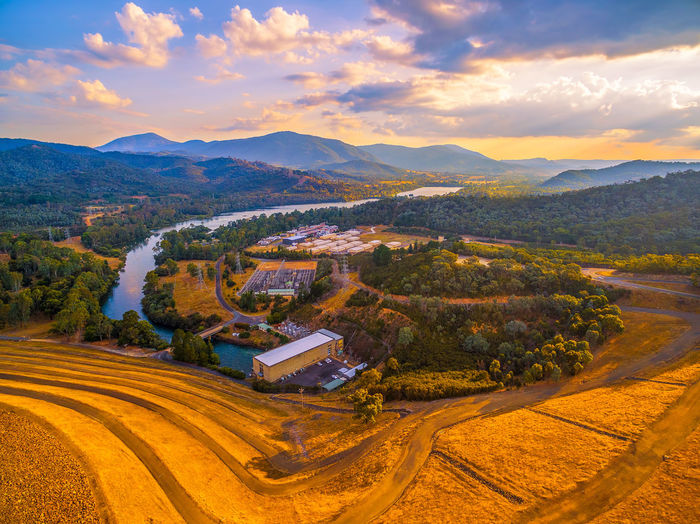 Scenic aerial view of Eildon Dam and Goulburn River at golden sunset Australia Australian Landscape Beautiful Drone  Goulburn River Panorama Panoramic Scenic Aerial Aerial Landscape Aerial View Agriculture Beauty In Nature Cloud - Sky Countryside Dam Day Drone Photography Eildon Field Lake Lake Eildon Landscape Melbourne Mountain Mountain Range Mountains Nature No People Outdoors River Road Rural Scene Scenics Sky Tranquil Scene Tranquility Tree