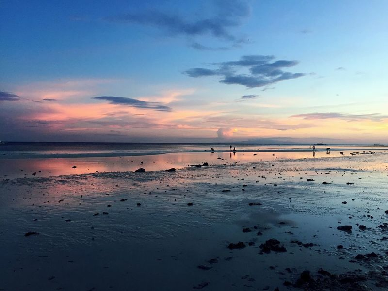 Sea Sky Sunset Water Beach Horizon Over Water Beauty In Nature Scenics Tranquil Scene Tranquility Nature Cloud - Sky Idyllic Reflection Sand Outdoors No People Day Philippines Panglao