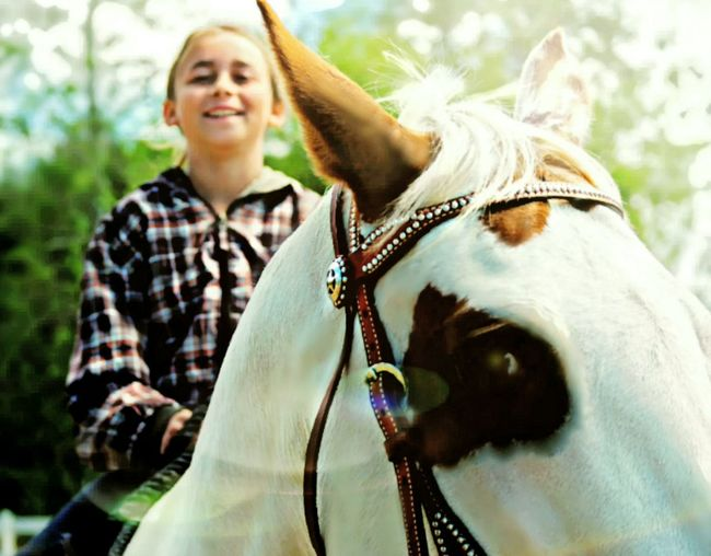 One Animal Mid Adult Blond Hair Horse Person Day One Person Domestic Animals Mammal Portrait One Woman Only Working Animal Outdoors Only Women Happiness Adult People Smiling Front View Close-up Horses Horse Riding Horseback Riding Happiness Leisure Activity