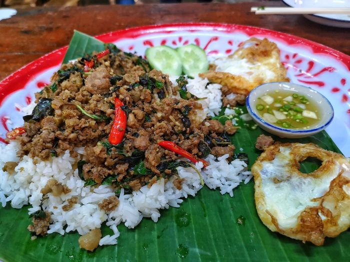 Stir Fried Basil Tray Street Market Religion Cultures Container Food ผัดกระเพราถาด Plate Table Meat Homemade Close-up Food And Drink