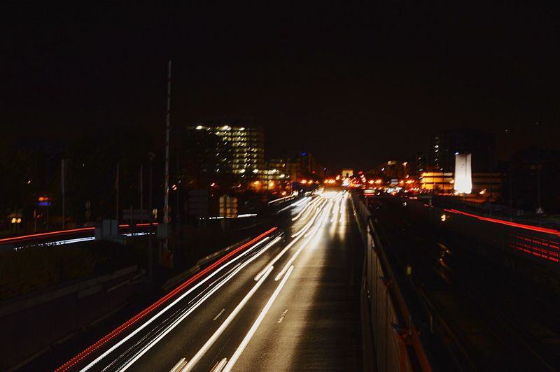 Night Illuminated Blurred Motion City High Angle View Road Traffic City Life Overnight Success