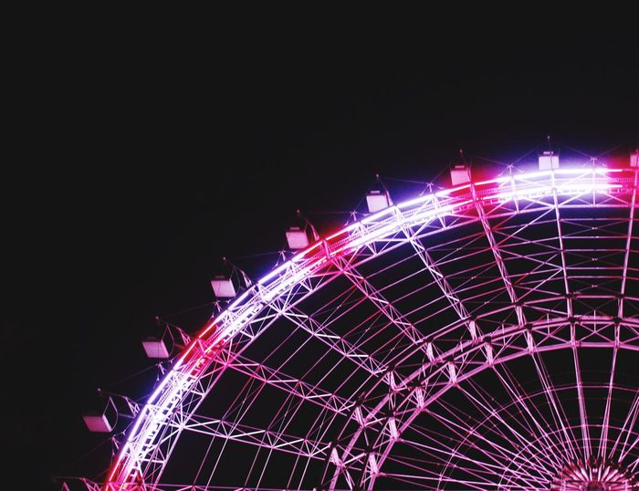 Night Illuminated Low Angle View Arts Culture And Entertainment No People Clear Sky Outdoors Amusement Park Sky