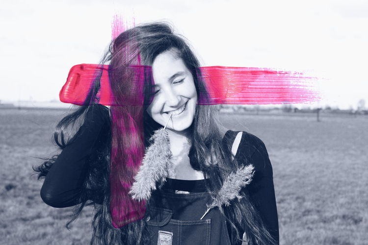 Home Is Where The Art Is Girl Portrait Smile Happy Paint Edit Blackandwhite Happiness Farm Life Millennial Pink Cut And Paste Sommergefühle