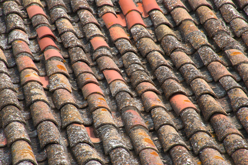 Old roof tiles Architecture Arrangement Backgrounds Brown Close-up Full Frame In A Row Old Orange Color Outdoors Pattern Repetition Roof Roof Tile Textured