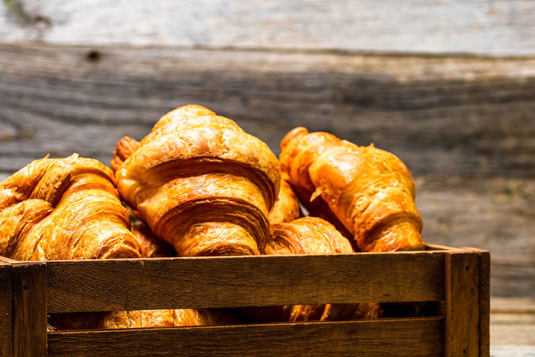 Close-up of bread on wooden table