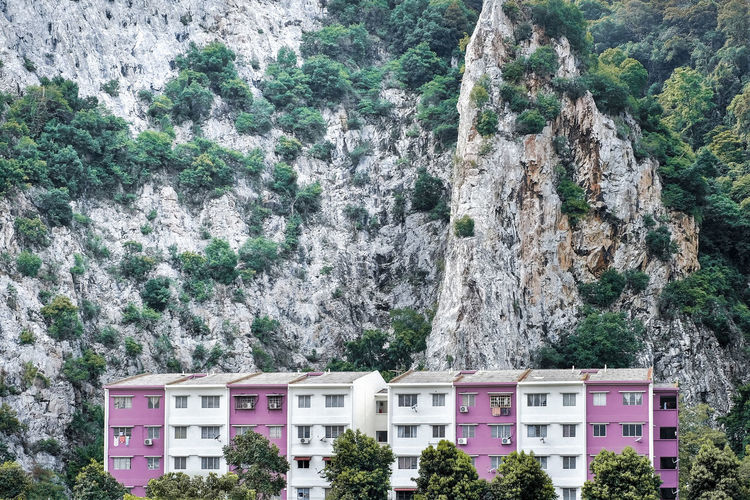 Mountain Tree Plant Built Structure Architecture Nature Rock Rock Formation Day Building Exterior Scenics - Nature Rock - Object Outdoors No People Growth Solid Land Beauty In Nature Formation Building Apartment Residential  Limestone Rocks