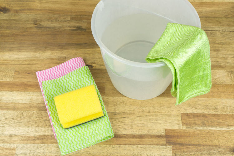 Bucket Cleaning Cleaning Equipment Close-up Day Freshness High Angle View Hygiene Indoors  No People Sponge Table Wood - Material