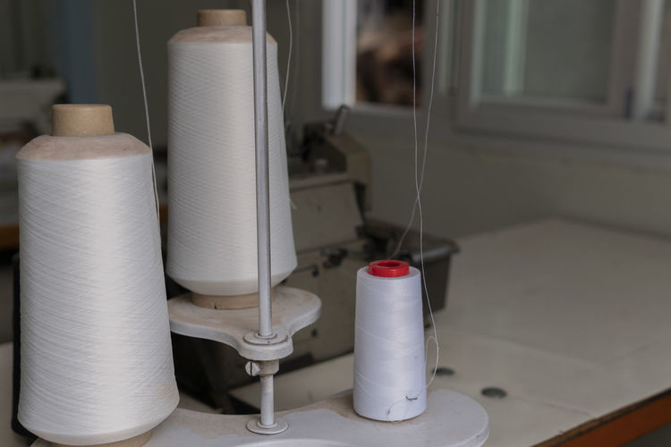 Background Bobbin Bright Closeup Color Cotton Craft Fiber Group Heap Industry LINE Material Needlework Nylon Objects Red Reel RGB Roll Sewing Skill  Spool String Tailor Textile Thread Variety White