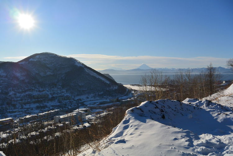 Sunny mountain landscape in kamchatka