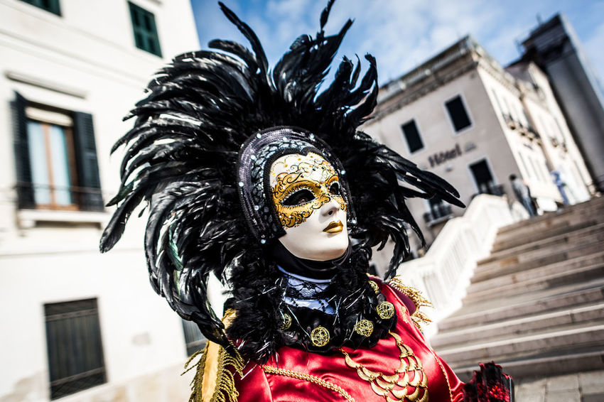 The Carnival of Venice Venezia Architecture Building Exterior Built Structure Carnival Carnival - Celebration Event Celebration Costume Day Disguise Documentary Feather  Focus On Foreground Halloween Low Angle View Mask - Disguise One Person Outdoors Venetian Mask Venice