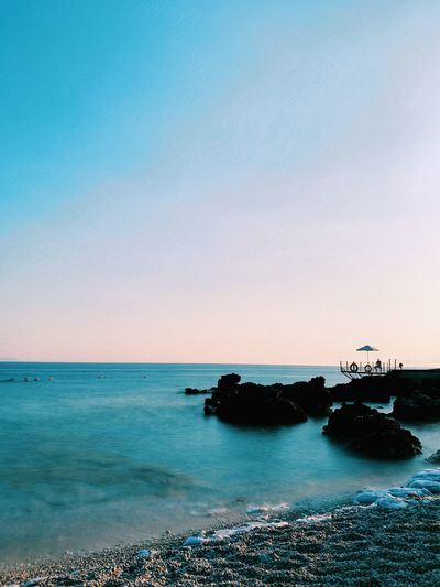 Sea Water Sky Scenics - Nature Beauty In Nature Horizon Horizon Over Water Beach Nature Land Tranquil Scene Blue Clear Sky Tranquility Transportation Outdoors