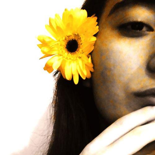 Sunflower Girl Flower Yellow Yellowflower Yellow Flower Eye Lip Face Half Face Girl And Flower Flower Yellow Flower Head Petal Close-up Sunflower Fragility