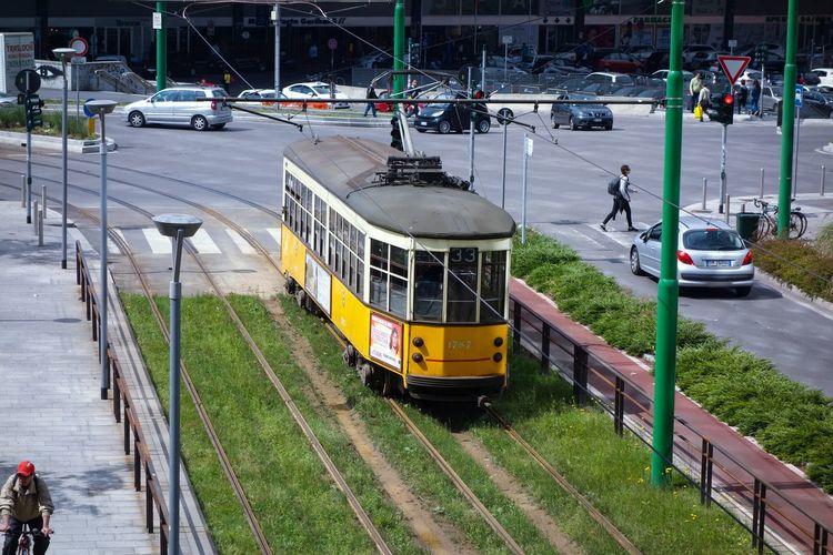 Milano Milanoportanuova City Street Tram Yellow