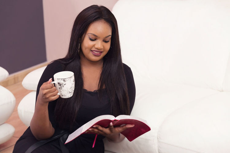 Young Woman Studying the Word of God in the Morning Bible Study, Christian, Faith, Religion, Gospel, Born Again, Salvation, Spirituality, Holy, Home, Devotional, Young, Girl, Lady, Woman, Mother, African American, Committed, KJV, KJB, Discipleship, Believer