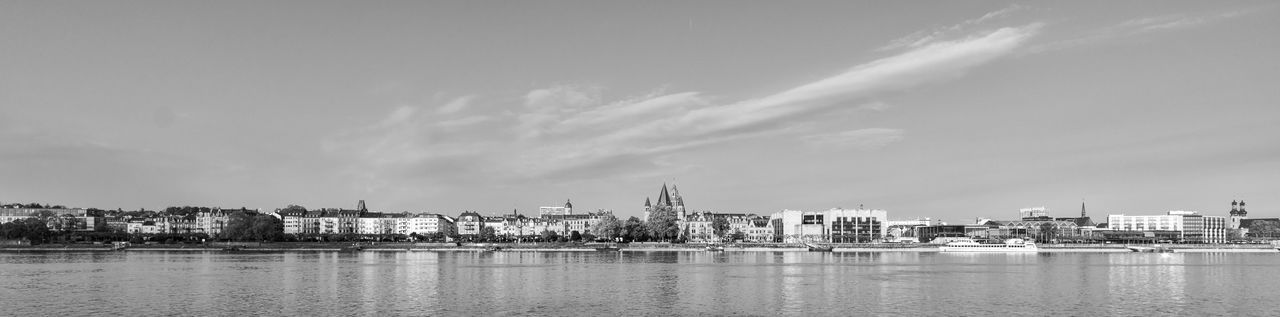 Cityscape Mainz, Am Rhein Panoramic Riverside Sky And Clouds Black And White Mainz Germany Waterfront