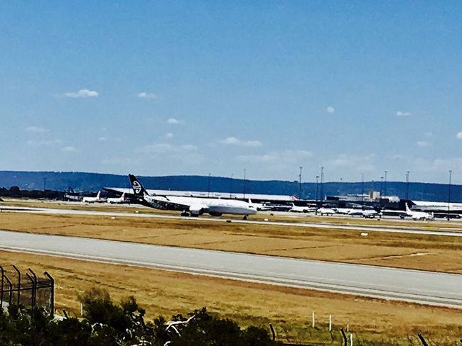 Air New Zealand B 787-9 having just arrived from Auckland. Transportation Mode Of Transport Sky Blue Outdoors Water Sea Airplane Day Bridge - Man Made Structure No People Nature Airport Runway Air Vehicle Passenger Boarding Bridge