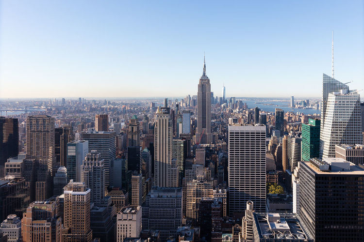 Panoramic view at Manhattan and Empire State Building Aerial View Architecture Building Exterior Business Finance And Industry City City Life Cityscape Day Downtown District Empire State Building Manhattan Modern New York New York City New York ❤ No People Outdoors Sky Skyscraper Tower Travel Travel Destinations Urban Skyline