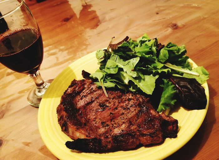Fresh Ribeye Steak Off the Grill Ribeye Steak Food And Drink Wine Plate Wineglass Red Wine Table Food Meat Beef Ready-to-eat No People Grilled Grilled Meat