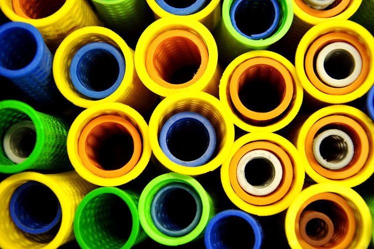 Full frame shot of colorful pipes