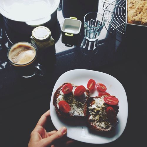 Toast🍞 Toastbread die Breakfast Food Coffee Goat Cheese Cherry Tomatoes