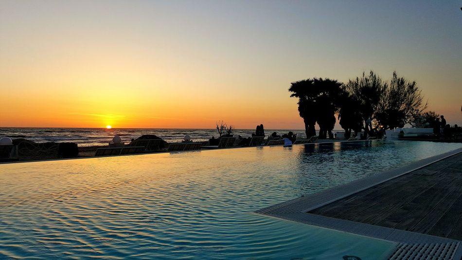 Sunset Tramonto Napoli Piscina Pool Sky Sea And Sky Sun Beach Lido